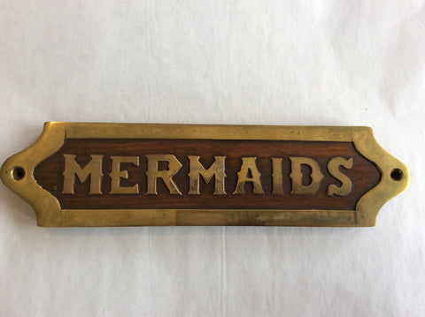 Sign, Wood and Brass, Mermaids, 9""