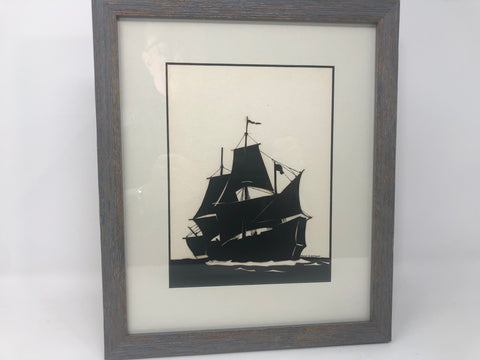Artwork, Silhouette, Clipper Ship, Port Bow Aspect