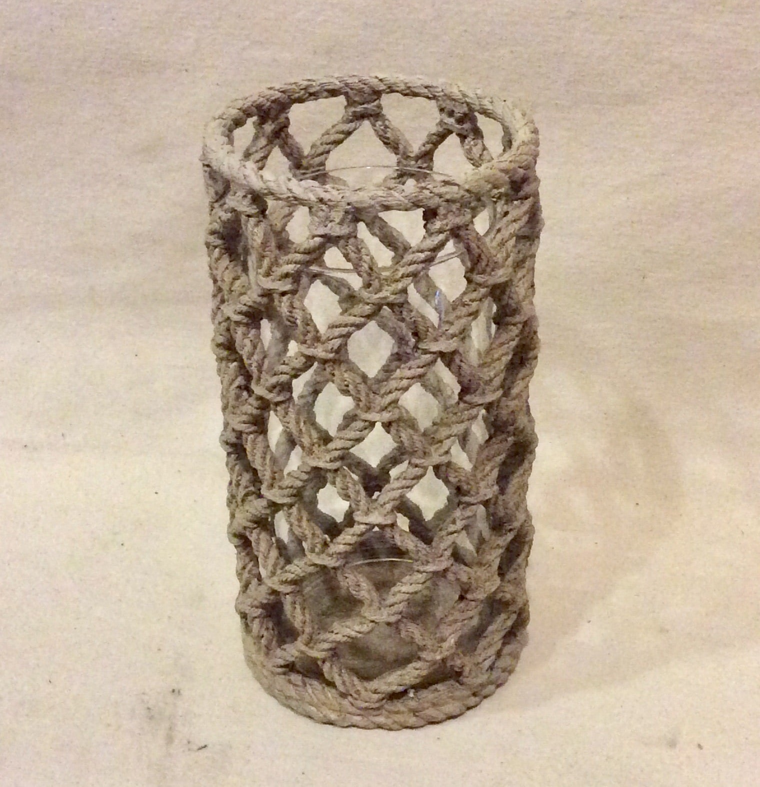 Candleholder, braided rope, large - Annapolis Maritime Antiques