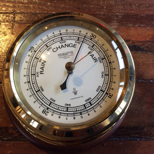 Vintage Wempe Barometer, mounted on wood base