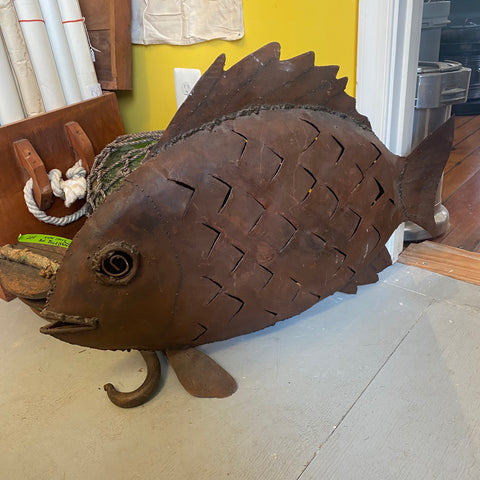 Metal Sculpture Fish Lantern