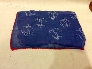 Scarf, Navy Blue with Anchors and Red Trim