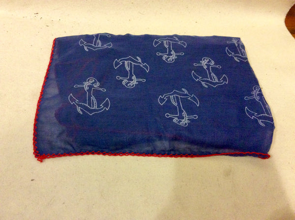 Scarf, Navy Blue with Anchors and Red Trim - Annapolis Maritime Antiques