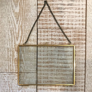 Small Brass Rectangle Floating Frame