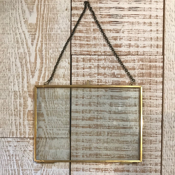 Small Brass Rectangle Floating Frame - Annapolis Maritime Antiques