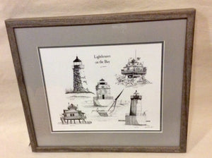 "Art, Lighthouses On The Bay, Pen And Ink, Framed 16x20"" - Annapolis Maritime Antiques"