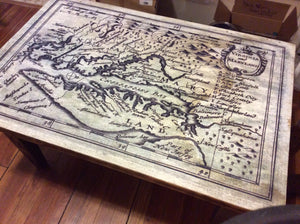 Coffee table, Domino Sugar Factory, With Map of Va, Md, and Chesapeake Bay - Annapolis Maritime Antiques