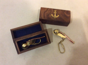 Key Chain, Boatswain's Whistle, Brass and Copper, in Wooden Box