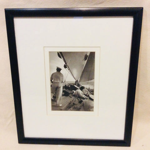 "Sailboat #1, ""On Deck,"" Vintage, B & W Photo, Framed - Annapolis Maritime Antiques"
