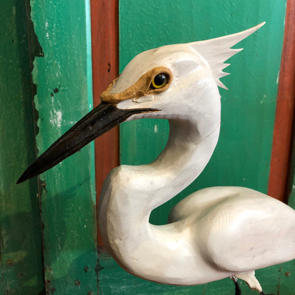 Snowy Egret #2, Wood Carving