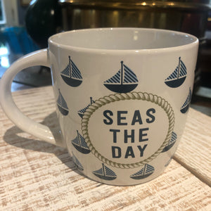 Mug, Nautical with Sailboats, Seas the Day
