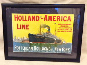 Advertising Poster, Holland America, Original circa 1950's - Annapolis Maritime Antiques