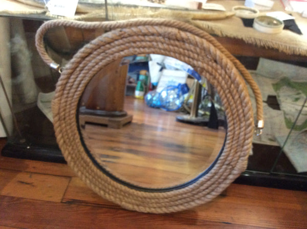 Mirror, Hanging Wall, Round Jute Rope, Large - Annapolis Maritime Antiques