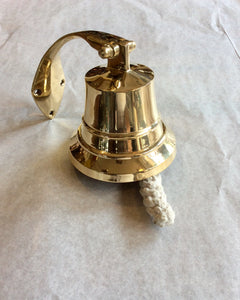 "Bell, Brass 4 "", with a rope bell pull,  custom made for us! - Annapolis Maritime Antiques"