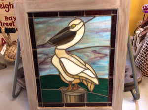 "Stained Glass, ""Pelican and Post"" - Annapolis Maritime Antiques"