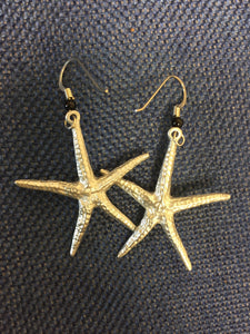 Earrings, pewter Starfish - Annapolis Maritime Antiques