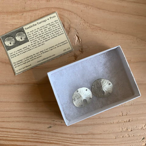Earrings, Micro Sand Dollar w/ Post, Pewter