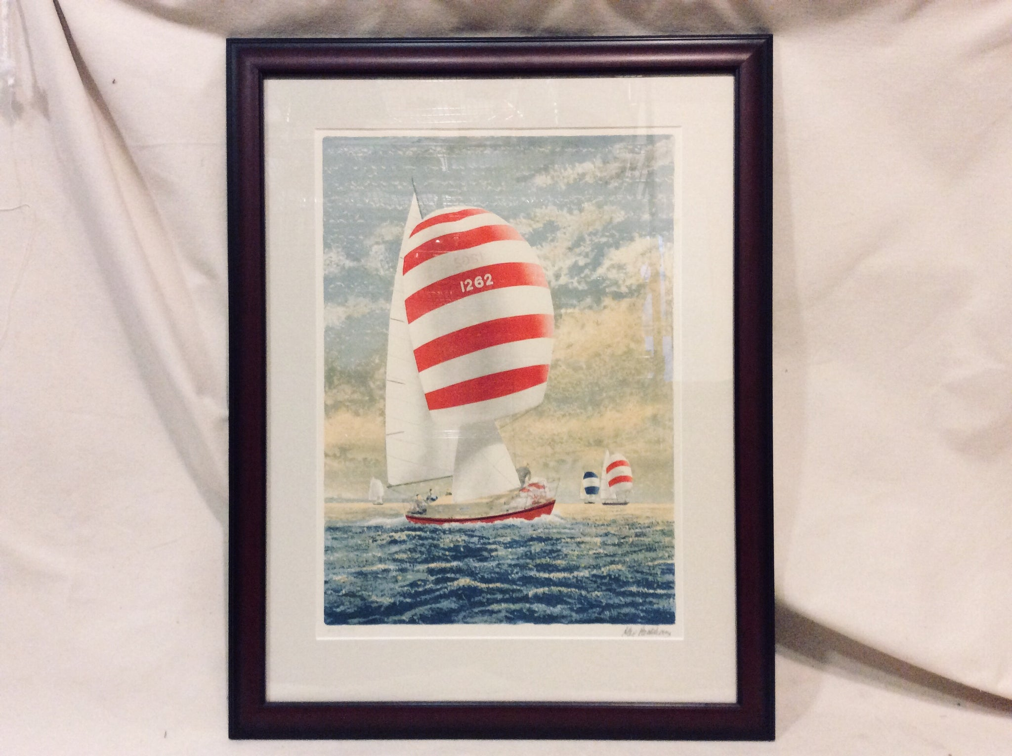 Art, Lithograph, Sailboat 2, Striped Spinnaker, Framed - Annapolis Maritime Antiques