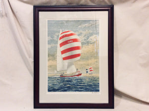 Lithograph, Sailboat 2, Striped Spinnaker, Framed - Annapolis Maritime Antiques