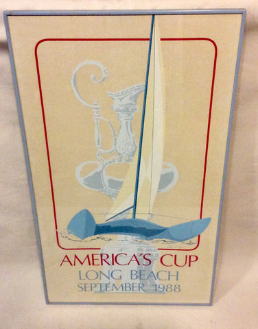 Art, America's Cup 1988, Print, Framed, Rare Signed - Annapolis Maritime Antiques