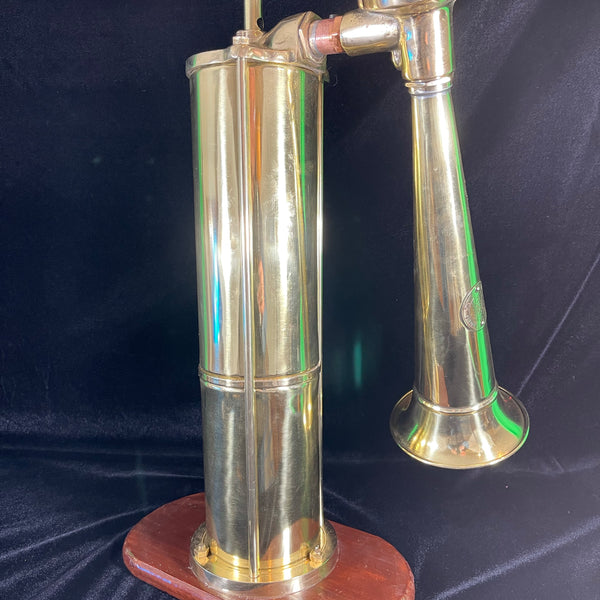 "Fog Horn, Pump, Solid Brass with Mahogany Base Made by ""TYFON"" of Sweden circa early 1900's"