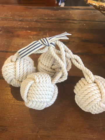 Napkin Rings, Monkey Fist, Ivory, Set of 4
