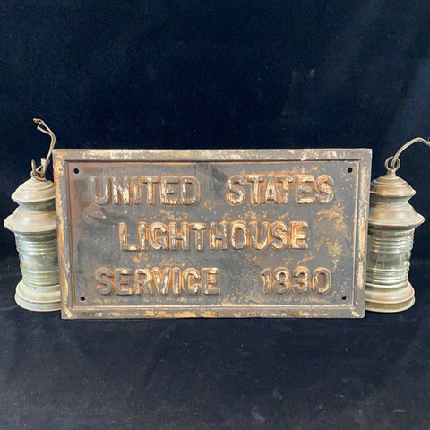 U.S. Lighthouse Service, Cast Iron Sign, circa early 1800's