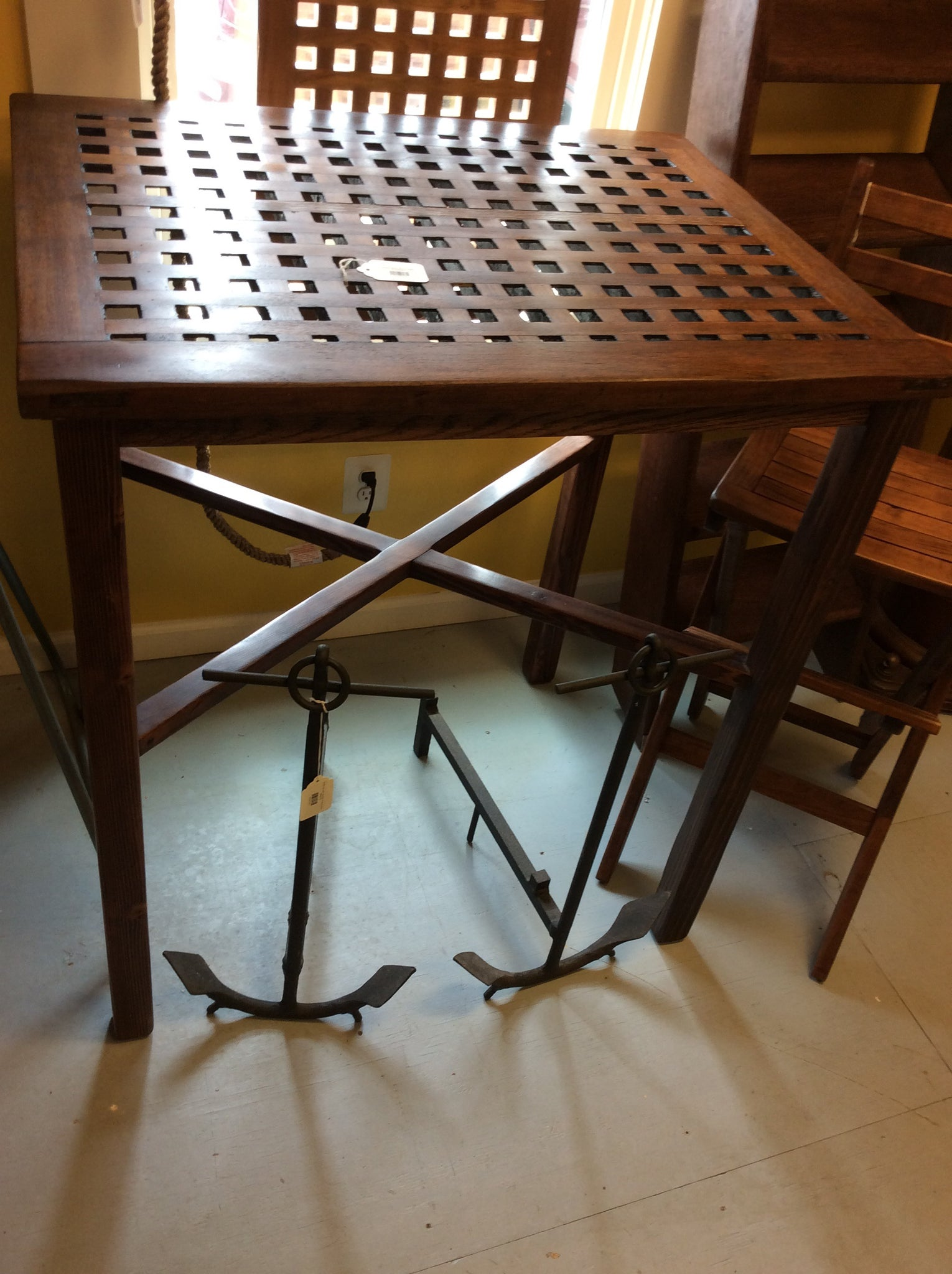 Deck Grating Table, Bar Height, WWII - Annapolis Maritime Antiques