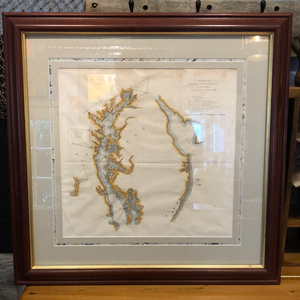 Hand Colored Chart of the Chesapeake Bay, Framed
