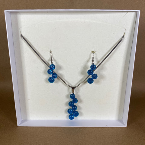 Solid Glass Dot Necklace & Earring Set