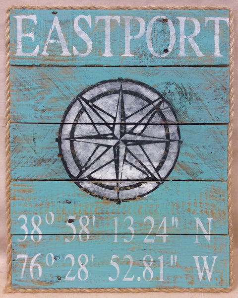 Artwork, Sign, Eastport/Annapolis Or Your Location, Lat & Long. - Annapolis Maritime Antiques