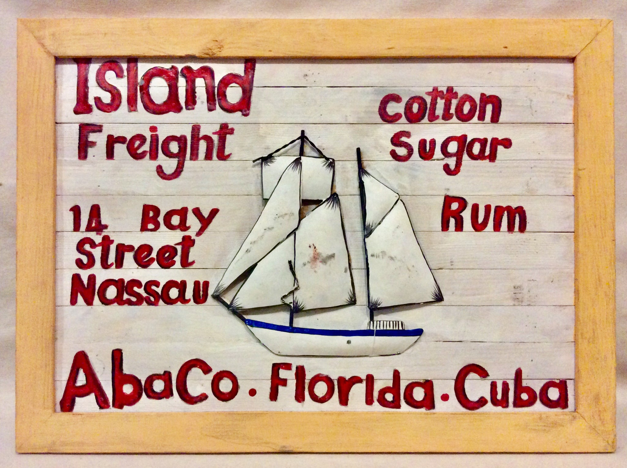Sign, Wood and Metal, Island Freight Large