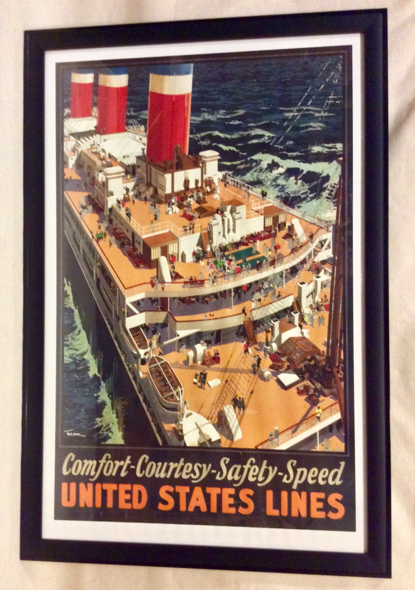 Art, Poster, Untied States Lines, Advertising, original - Annapolis Maritime Antiques