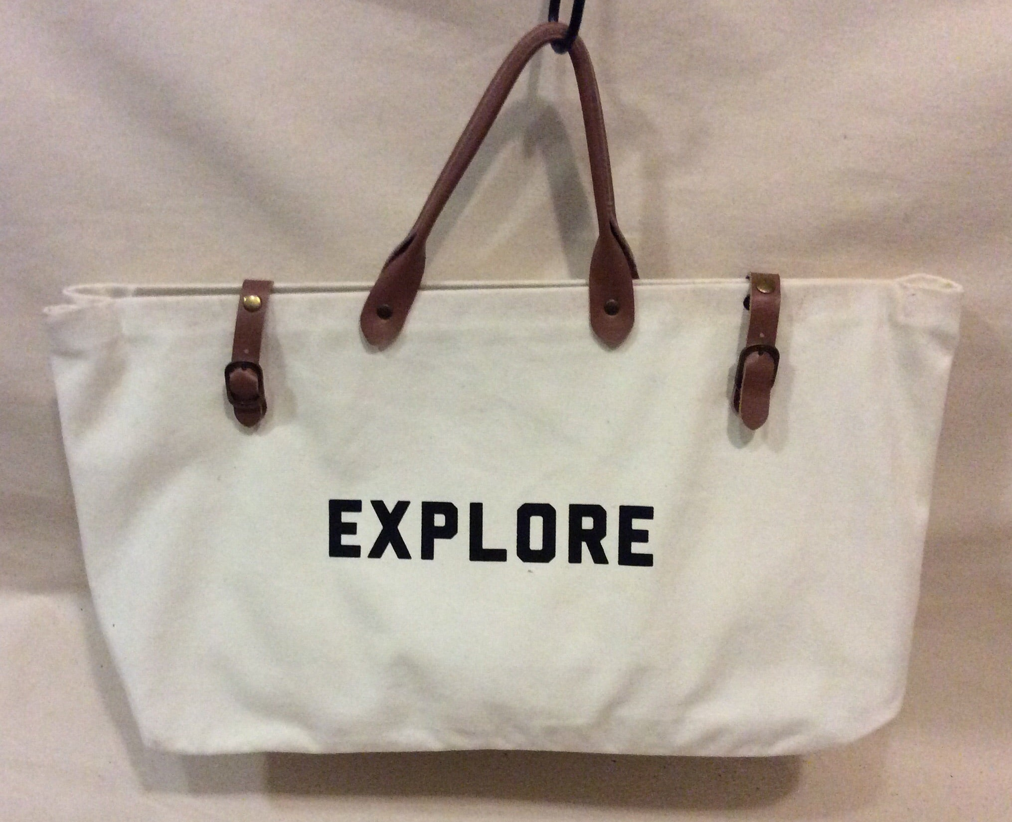 "Bag, Canvas with genuine leather, ""Explore"" - Annapolis Maritime Antiques"