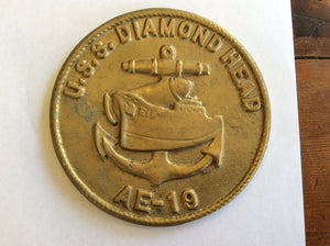 Medallion, brass, USS Diamond Head