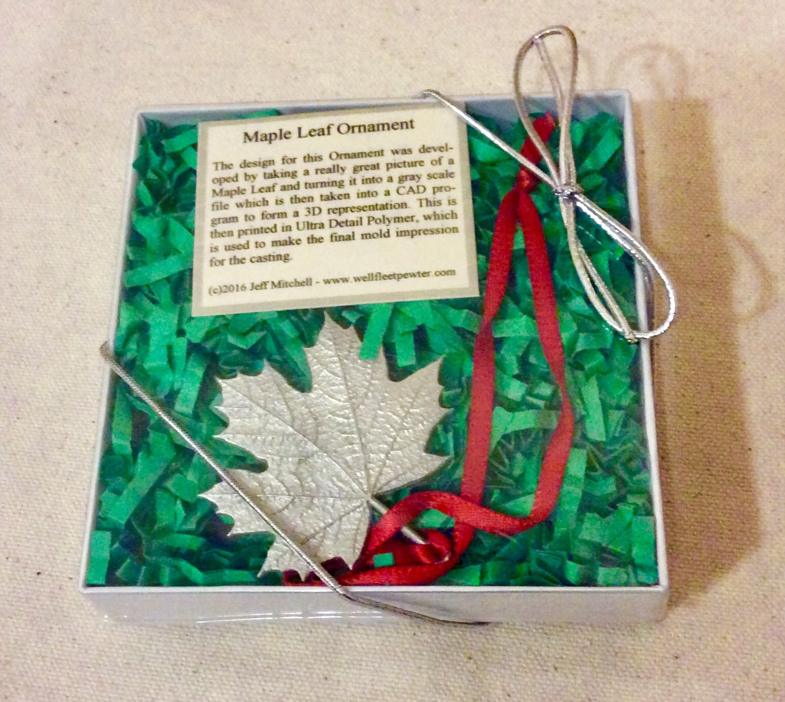 Ornament, Maple Leaf, Pewter