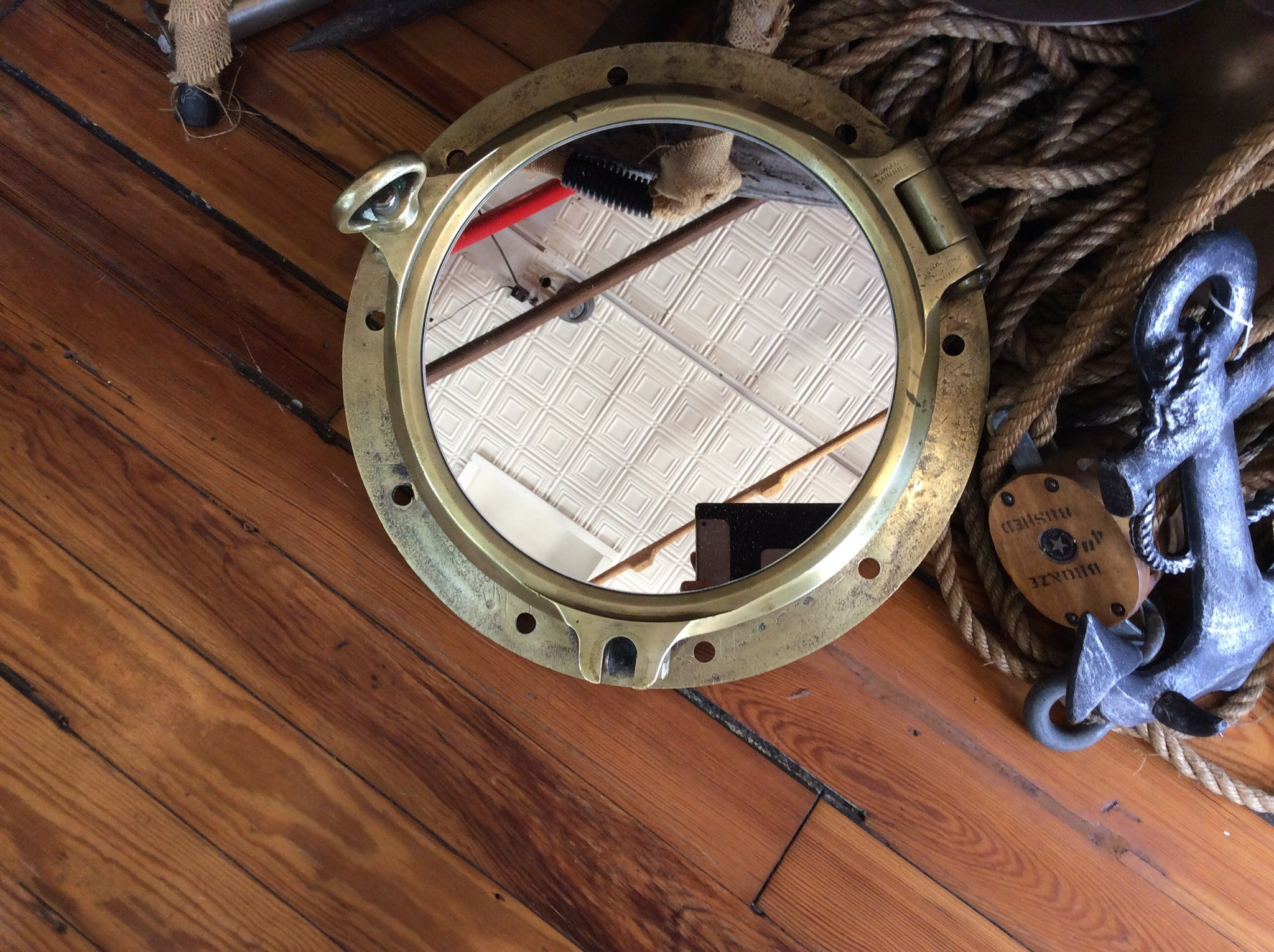 Porthole, Brass, mirror, WW II era