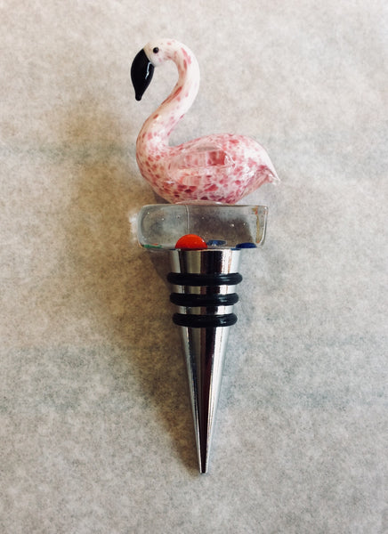 Bottle Wine Stopper, Pink Flamingo - Annapolis Maritime Antiques