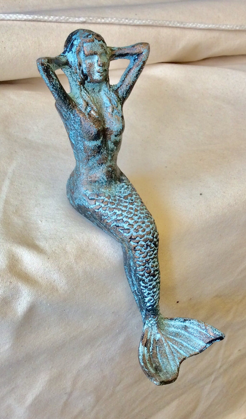Mermaid Sitting, Blue/Gold Bronze - Annapolis Maritime Antiques