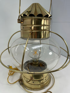 Onion Lamp, Large, Brass, Hand Blown Glass, circa late 1800's