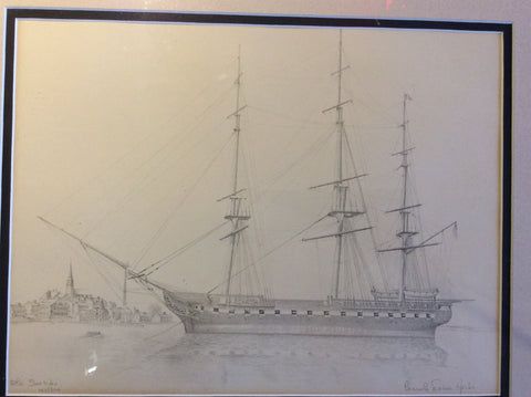 """Old Ironsides"", by Consuelo Eames Hanks (1928-2015) - Annapolis Maritime Antiques"