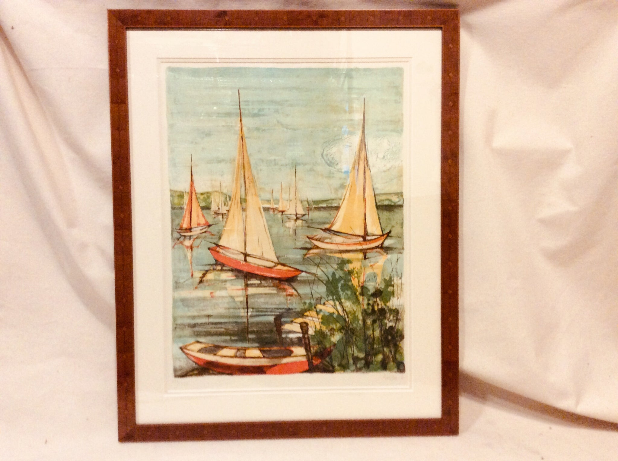 Sailboats in the Harbor, Limited Edition Lithograph, Framed - Annapolis Maritime Antiques