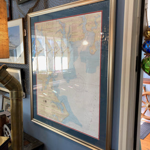 Framed Nautical Chart, Annapolis Harbor, Large - Annapolis Maritime Antiques