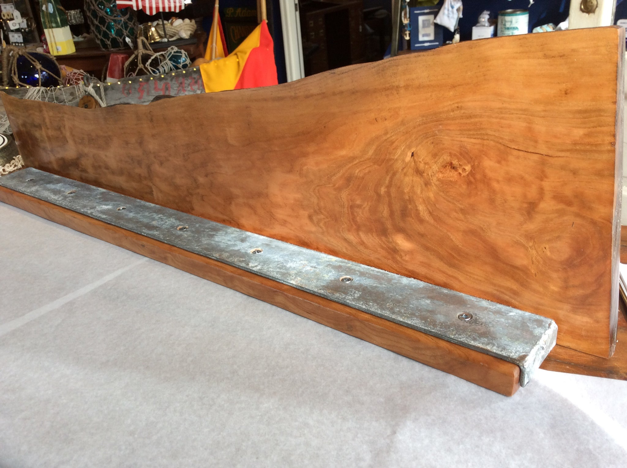Shelf, Live Cut, with Liberty Ship Hatch Cover Steel Trim - Annapolis Maritime Antiques