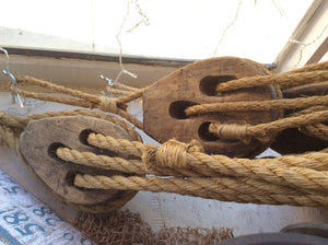 Deadeyes, wood blocks, pair, strung together with manila line, various lengths - Annapolis Maritime Antiques