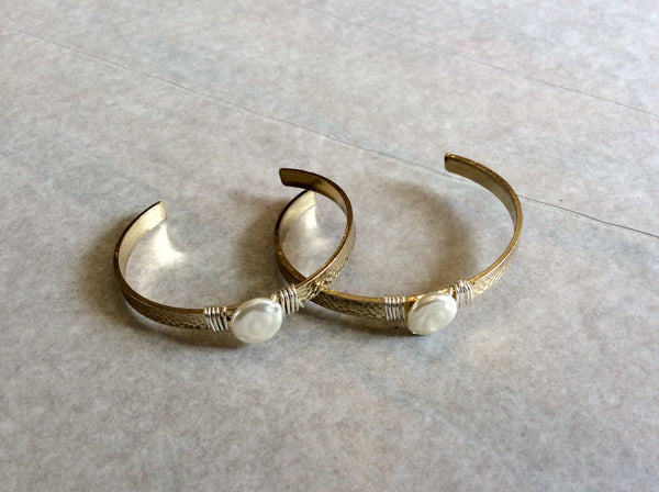 Bracelet, Hammered Pearl Cuff - Annapolis Maritime Antiques