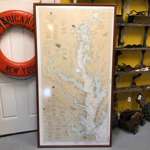 "Chesapeake Bay Nautical Chart, 36.5""x68"" Framed - Annapolis Maritime Antiques"