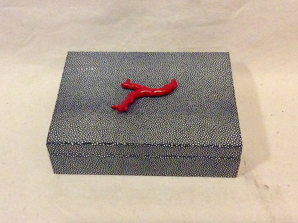 Jewelry box, SMALL, stingray with coral - Annapolis Maritime Antiques