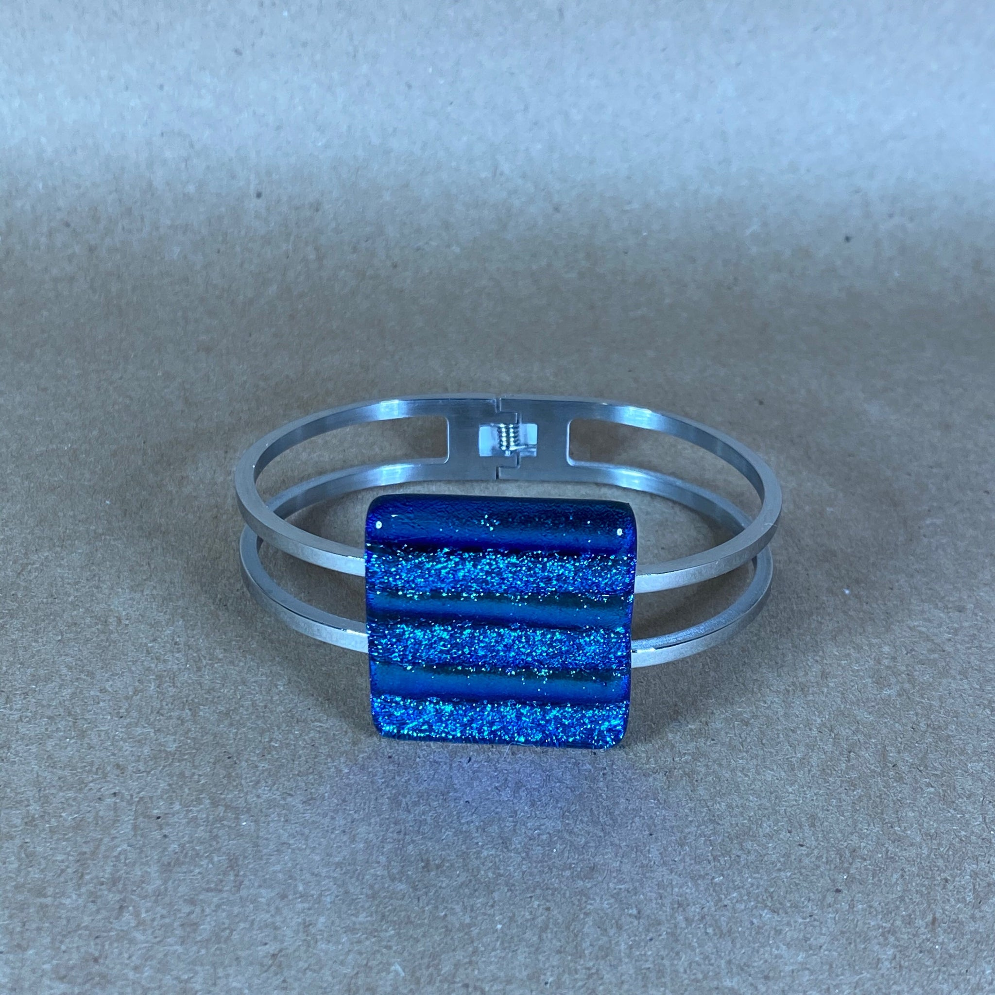 Solid Glass Bracelet with Silver Band