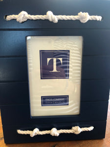 Picture Frame, Navy blue w/rope
